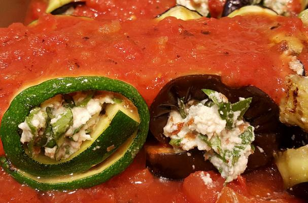 """Eggplant and Zucchini Roll-Ups Stuffed with Almond """"Ricotta"""" Cheese"""