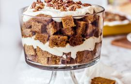 Pumpkin Bread Trifle with Maple Brandy Cream